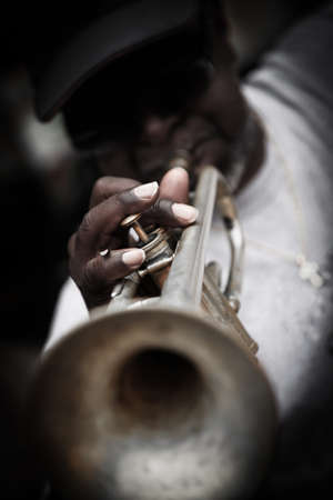 orleans: New Orleans, USA - April 23,2012: Street musician in the French Quarter in New Orleans.