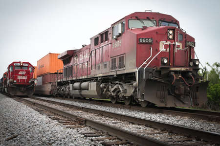 payload: Chicago, USA - May 28, 2012: Diesel trains hauling cargo. Editorial