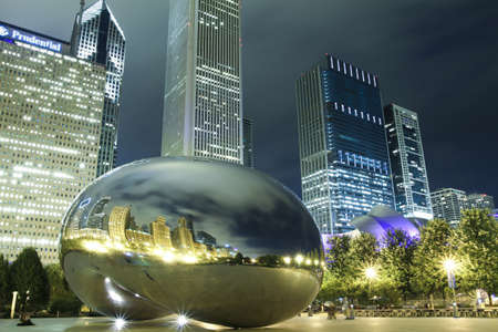 millennium: Chicago, USA - July 28, 2010: Image of Chicago bean at night formally named the Cloud Gate. Photographed at the millennium park in Chicago. Editorial