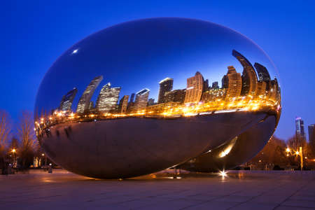 Chicago, USA - March 16, 2012: Image of Chicago bean at night formally named the Cloud Gate. Photographed at the millennium park in Chicago.