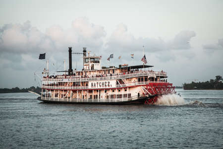 mississippi: New Orleans, USA - April 20, 2011: Image of the Natchez steamboat on the Mississippi River.
