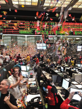 computerized: Chicago, Illinois - December 30, 2011 -Motion blur image of the last second of the last trading day on the CBOT trading floor of 2011. Editorial