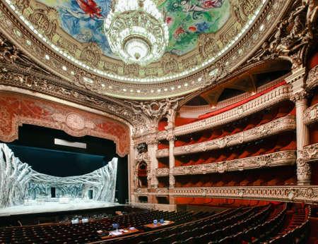 nightscene: Paris, France - January 18, 2012: Image of the Paris opera house in Paris, France. Also known as Op�ra National de Paris.