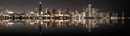 Chicago: Chicago panoramic skyline at night Stock Photo