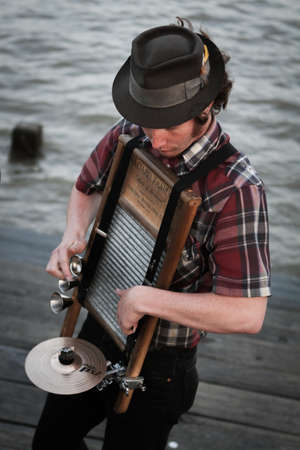 hobo: New Orleans, USA - April 20, 2011: Image of musician in the French Quarter in New Orleans.  Editorial