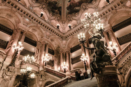nightscene: Paris, France - January 18, 2011:Image of the interior of Paris opera house in Paris, France. Also known as Opéra National de Paris. Editorial
