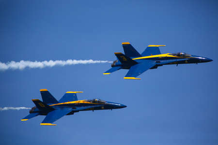 Chicago, USA - August 19, 2012: Image of the Blue Angels performance at the Chicago Air and Water Show. Editorial