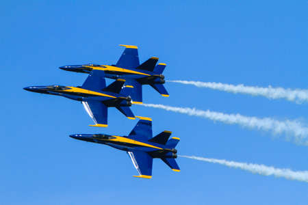 maneuver: Chicago, USA - August 19, 2012: Image of the Blue Angels performance at the Chicago Air and Water Show. Editorial