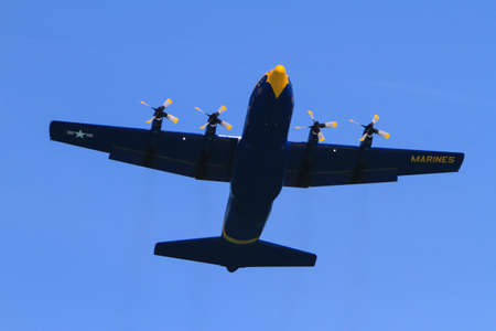 Chicago, USA - August 19, 2012: Image of a Marine Cargo plane performance at the Chicago Air and Water Show.