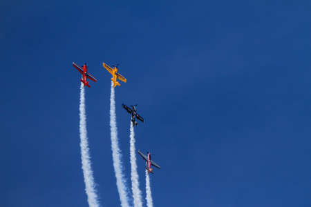 maneuver: Chicago, USA - August 19, 2012: Image of Stunt planes performance at the Chicago Air and Water Show. Editorial