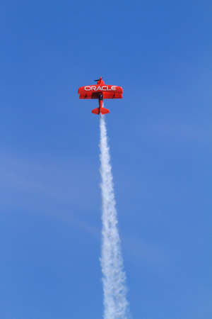 Chicago, USA - August 19, 2012: Image of Oracle Stunt plane performance at the Chicago Air and Water Show. Editorial