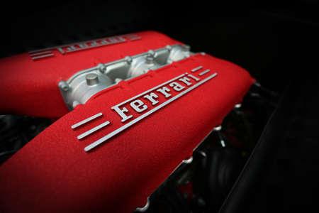 Chicago, USA - September 9 : Ferrari Fest 2012 held in Chicago, Ill. on September 9, 2012. Detailed macro image of a Ferrari engine.