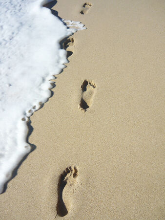 Footprints on the beach photo