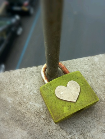 affixed: Love padlock Affixed in Rome Stock Photo
