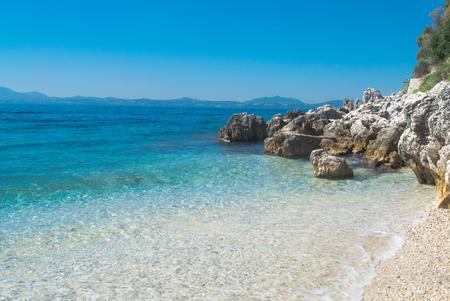 Rocky coast in Corfu Greece