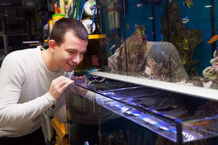 peces de acuario: Joven sonriente y la elecci�n de los peces de acuario en el acuario