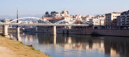 ebre: Day view of Ebro  with bridge and Suda Castle in Tortosa. Catalonia,  Spain