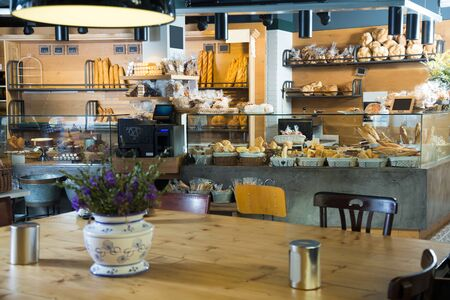 kinds: Modern bakery with different kinds of bread Stock Photo