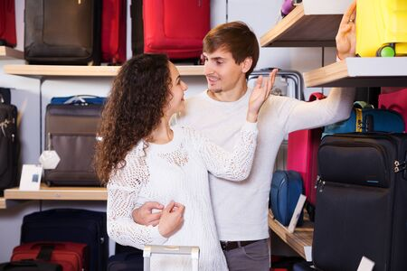 shopgirl: Man and woman buys some handy trunk  at shop