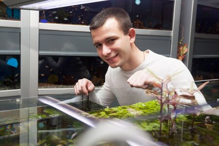 selecting: Ordinary man smiling and selecting tropical fish in shop Stock Photo