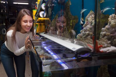 aquarian: Smiling young brunette watching tropical fish in petshop Stock Photo