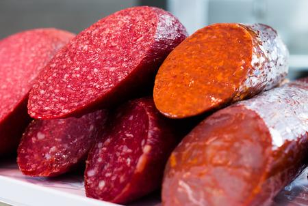 veal sausage: delicious sausage at shop window