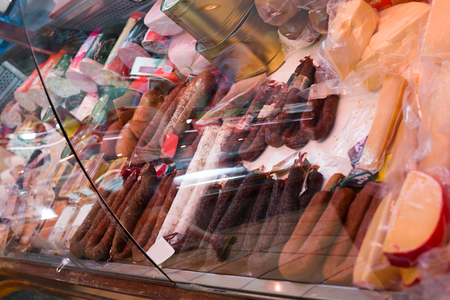 veal sausage: elicious sausage at shop window at market