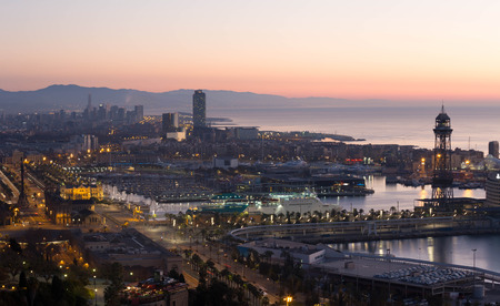 colom: Panoramic night view of Port Vell and La Barceloneta district. Barcelona, Spain Stock Photo