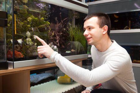 aquarian: Portrait of ordinary man selecting tropical fish in petshop Stock Photo