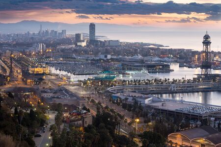 Panoramic view of Port Vell and La Barceloneta district. Barcelona, Spain Stock Photo