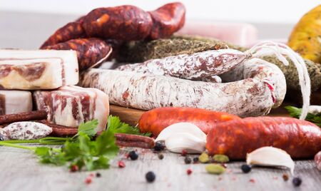 a bunch of meat and sausages of various kinds Stock Photo