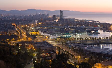 Dawn morning  view of Barcelona from Mondjuic. Catalonia, Spain Stock Photo