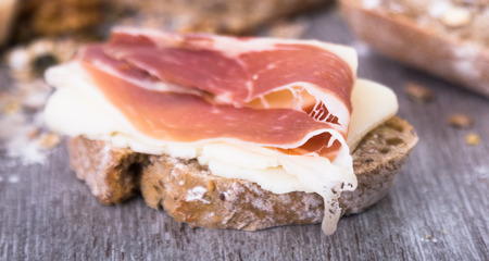sandwich with cheese and dried ham Stock Photo