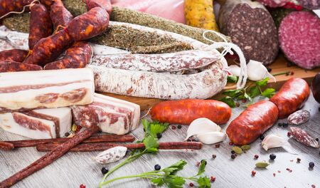 pile of delicious sausages of various kinds Stock Photo