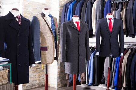 Interior of store of male classic clothes