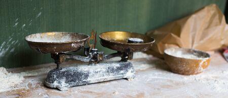 traditional kitchen scales on vintage kitchen Stock Photo