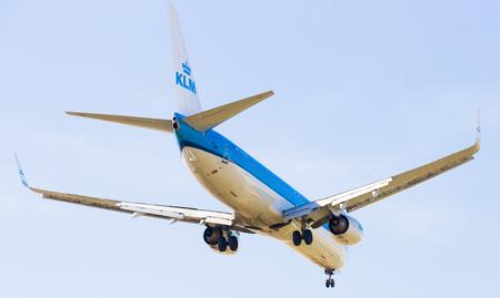 BARCELONA, SPAIN - MARCH 09, 2017:  KLM Airlines plane landing in El Prat Airport on time. Barcelona, Spain