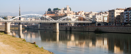 Day view of Ebre  in Tortosa, Spain. Monument to  Battle of the Ebro at river Stock Photo