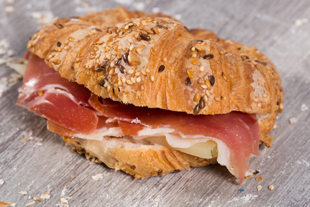 delicious sandwich made with rye bread and ham Stock Photo