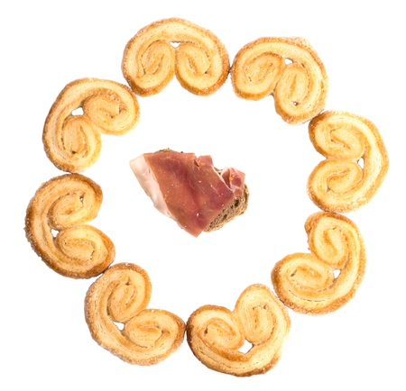 tasty round frame of cookies Palmier