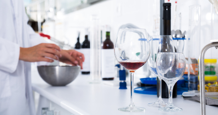 laboratory of winery. Checking the acidity of wine and organoleptic characteristics Stok Fotoğraf - 102232673