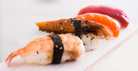 series of four kinds japanese Nigirisushi. focus on unagi