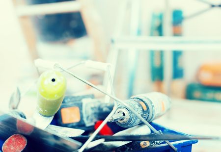 common set of construction tools for repairing the premises Stock Photo