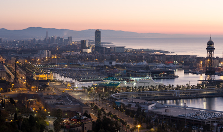 Dawn view of Barcelona from Mondjuic. Catalonia, Spain