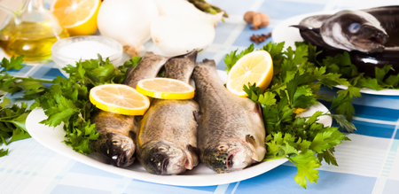 trout with Lemon, parsley and onion lying on the plate indoors Reklamní fotografie