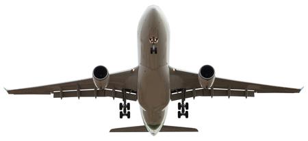 flying airplane on isolated white background 版權商用圖片