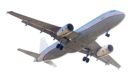 flying modern airplane on isolated white background