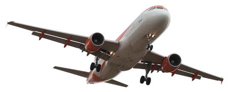 flying airplane on isolated white background Standard-Bild