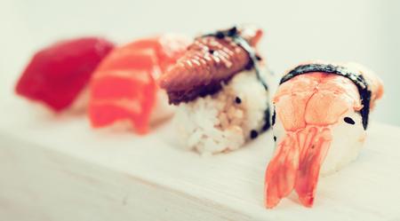 close-up of series of four kinds Nigirisushi Фото со стока - 121399378