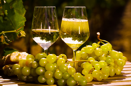glass of White wine grapes and bread on table in field Stock Photo